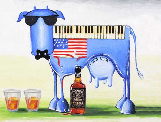 American blues cow, blues, USA cow, JD, Jack Daniels, Bourbon, whisky.