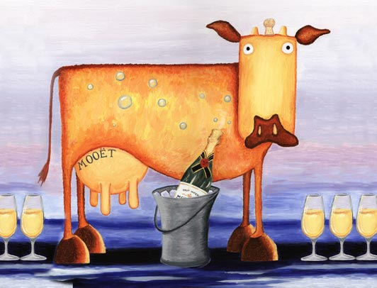 orange cow, champagne cow, cow art, square cow,
