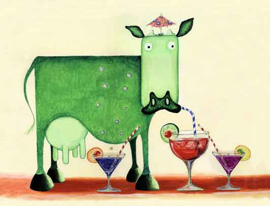 cocktail cow, green cow, minty cow,