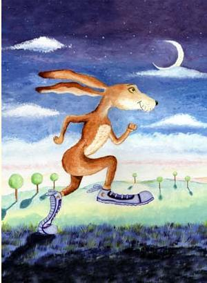 hare running art