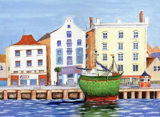 Poole Quay  naive painting