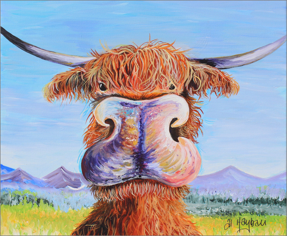 highland cow, acrylic art, Ginger the cow,