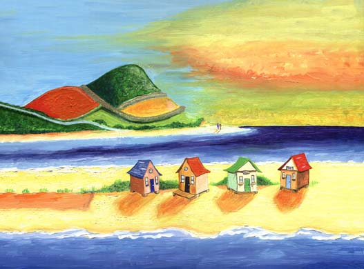 'Huts on the strand'