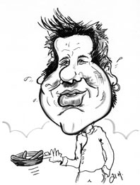 Jamie Oliver caricature, celebrity chef,