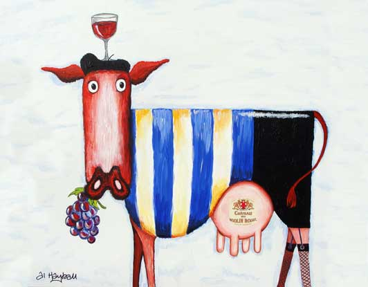 moulin rouge, french cow, redwine cow,