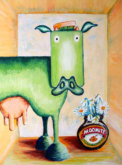 moomite cow, still life with daisy, green cow,